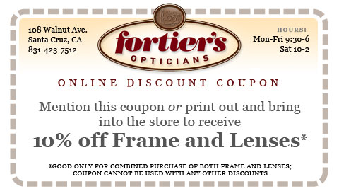 Coupon for 10% off Frame & Lens